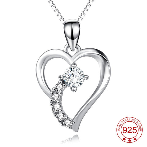 Genuine 925 Sterling Silver Crystal Heart Pendant Necklace *** FREE SHIPPING *** - Delivered Value