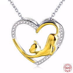 Genuine 925 Sterling Silver Gold Plated Cat Necklace *** FREE SHIPPING *** - Delivered Value