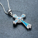 Genuine 925 Sterling Silver with Blue Opal Cross Pendant Necklace *** FREE SHIPPING *** - Delivered Value