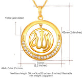 Round Allah Pendant Necklace Gold Silver with Zircon Diamonds *** FREE SHIPPING *** - Delivered Value