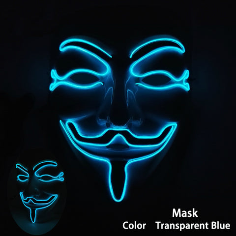Flashing LED Costume Anonymous Masks *** FREE SHIPPING *** - Delivered Value