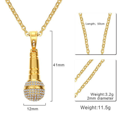 Rhinestones Microphone Pendant Necklace - Delivered Value
