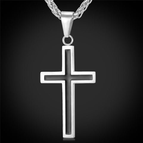 Stainless Steel Cross Enamel Pendant Necklace *** FREE SHIPPING **** - Delivered Value