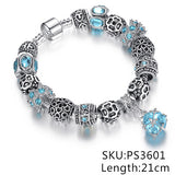Authentic Silver Plated Pink / Blue Crystal Charm Bracelet *** FREE SHIPPING *** - Delivered Value