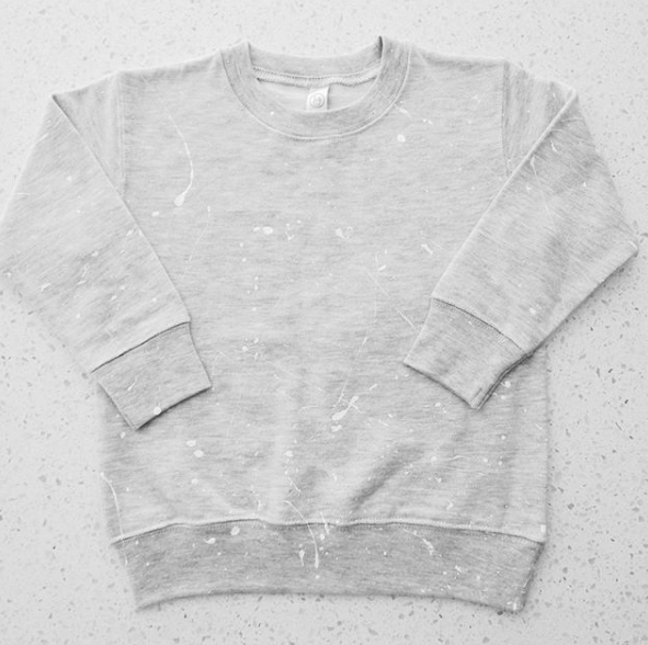 GREY SPLATTER CREW NECK SWEATSHIRT
