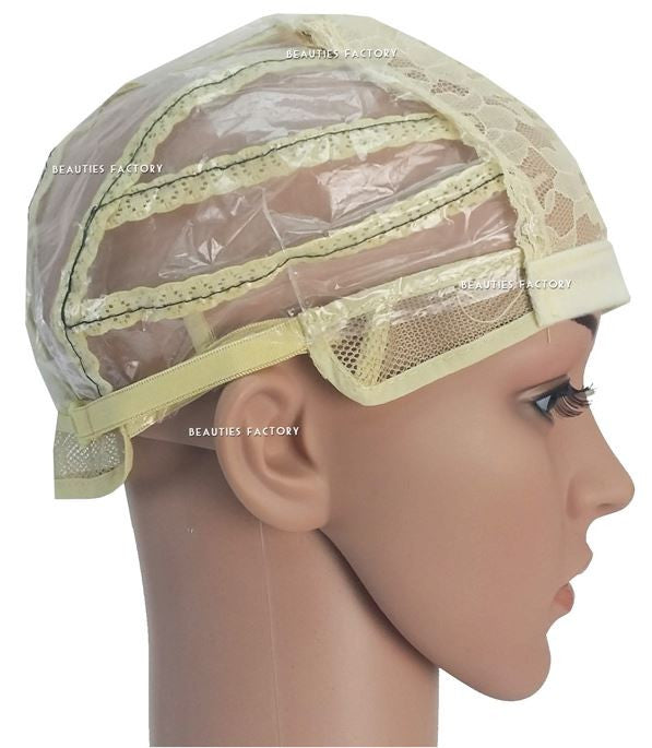 Natural Cream Adjustable Straps DIY Wig Weaving Cap Signature Lines Positioned at the back
