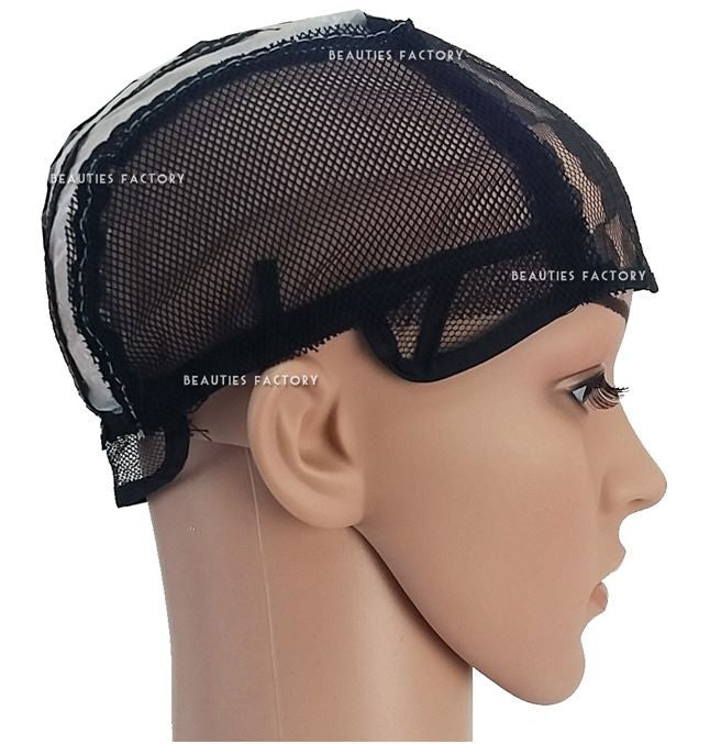 Black Adjustable Straps DIY Wig Weaving Cap Signature Lines Positioned at the back