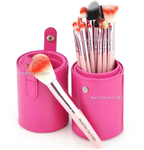 18pcs Makeup Brushes Pink Leather Brush Stand (Gaga)