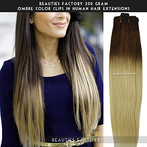 Beauties Factory 200gram Full Thick Ombre Clip in Remy Human Hair Extension 20
