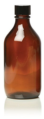 Hive Of Beauty AMBER GLASS Bottle with Black Lid For Essential Oil / Aromatherapy Use 500ml CODE: SAR0065