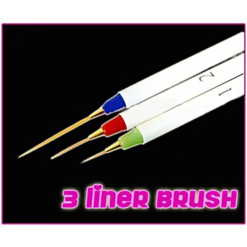 New Authentic 3pcs Fine Quality Nail Art Pen Brush Liner Painting Precise Drawing Liner CODE: #113