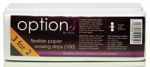 Hive Flexible Paper Waxing Wax Strips for Leg Body Bikini Face - Special Offer 3 for 2 Pack CODE: HOB5535