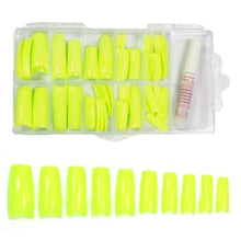 BF New Colored French Acrylic Nail Tips with Tip Box & Glue For Nail Extensions Nail Art Display (100pcs) - Sharp Yellow