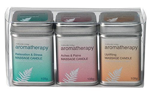 Natures Way Aromatherapy Pack of Three Massage Candle 108g Each CODE: NWA2020