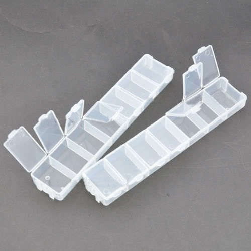 New 2pcs Translucent Empty Flexible 7 Rooms Nail Art Deco Brush Box Case CODE: #752E