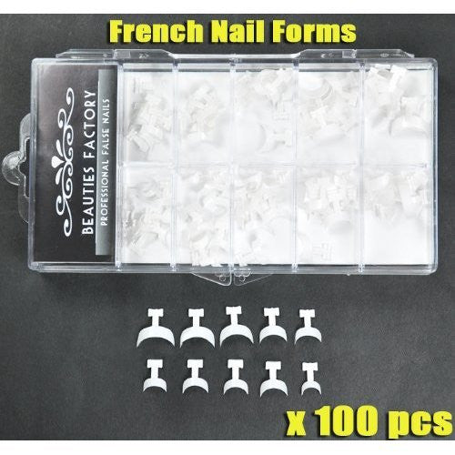 100pcs BF New Professional Acrylic French Nail Form Tips for acrylic nail art tips design decoration Edge Forms