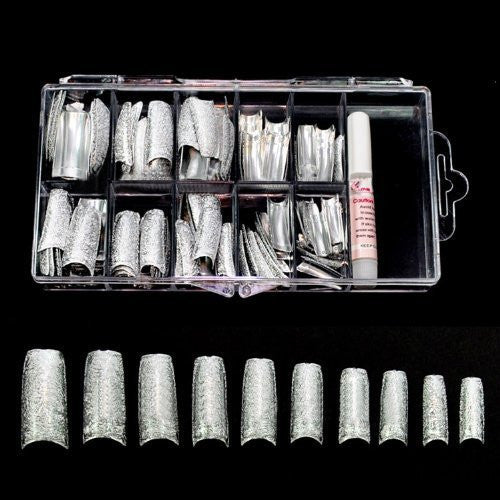 Special Shining 3D Rugged Effect Nail Tips (100pcs w/ tip box) - Silver CODE: #476S