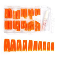 New Professional Colored French Nail Tips with Tip Box & Glue (100pcs) - Orange CODE: #442K