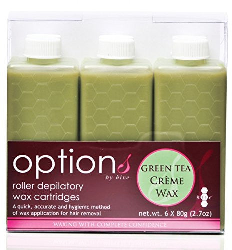 Hive 6pcs New Refill Roller Depilatory Roll on Wax Cartridges Green Tea Creme Wax 80g CODE: HOB6611
