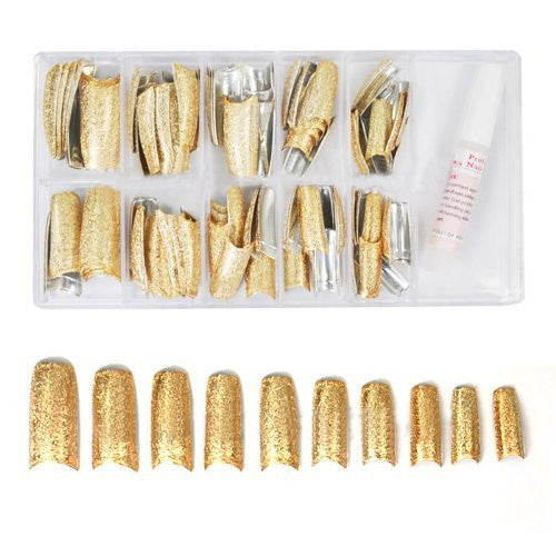 Special Shining 3D Rugged Effect Nail Tips (100pcs w/ tip box) - Gold CODE: #476G