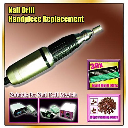 BF New Professional Handpiece Replacement of Nail Drill + 30 Bits +10 0 Sanding Bands Acrylic Nail Art Tool