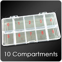 BF 1pc x Large Empty Storage Box Case / Compartments For Acrylic Nail Art / Gems / Rhinestones Diamante (10 Compartments)