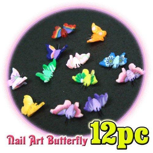 3D Butterfly Fimo Nail Art x 12 CODE: #240