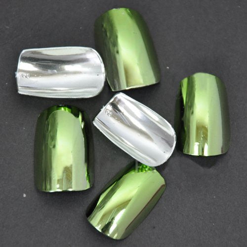 Chrome False Nail Tips (FULL) x 100pc - Lime