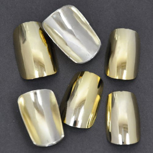 Chrome False Nail Tips (FULL) x 100pc - Gold