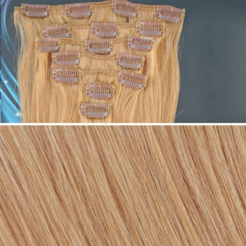 BF New 18 inch #14 Natural Ash Blonde (Hair211) Full Head Clip in Straight Remy Human Hair Extension