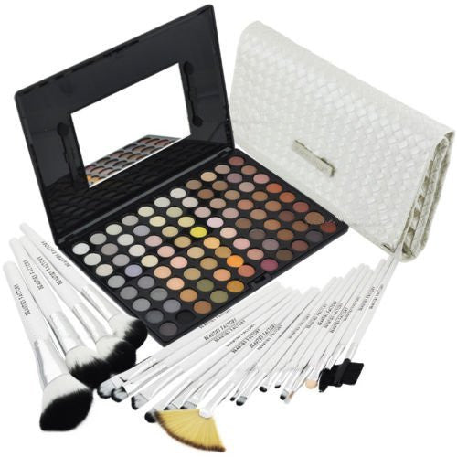 BF 88 Color Warm Eyeshadow Makeup Palette With 20pcs Brushes White Swan #588F#813