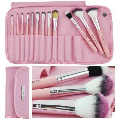 BF New Authentic 12pcs Wooden Handle Cosmetic Makeup Tool Brush Set (Kawaii Pink)