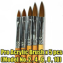 New Professional Wood Wooden Acrylic Brush For Nail Art Tips Artificial Design Drawing Pen 5 Pieces CODE: #411