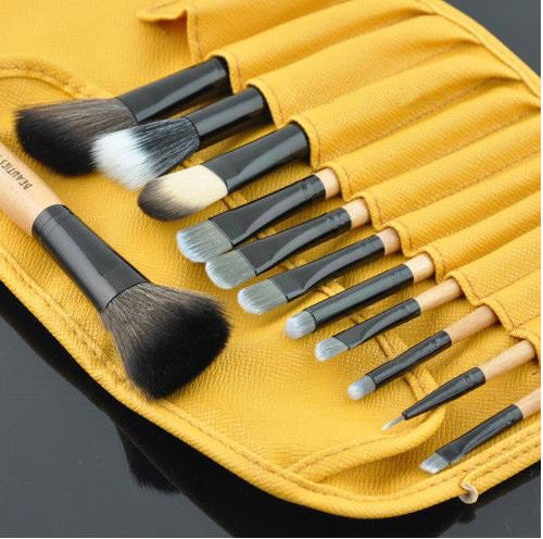 New 12pcs Professional Cosmetics Makeup Brush Set / Kit Eyeshadow , Eyeliner , Foundation , Angle Powder Brushes Goat Hair With Bag (Peru)