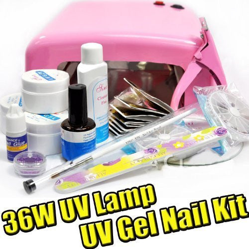 BF New Authentic 36W UV Gel Lamp Dryer Nail Art Manicure TIPS SET KIT with Clipper Colour Pink