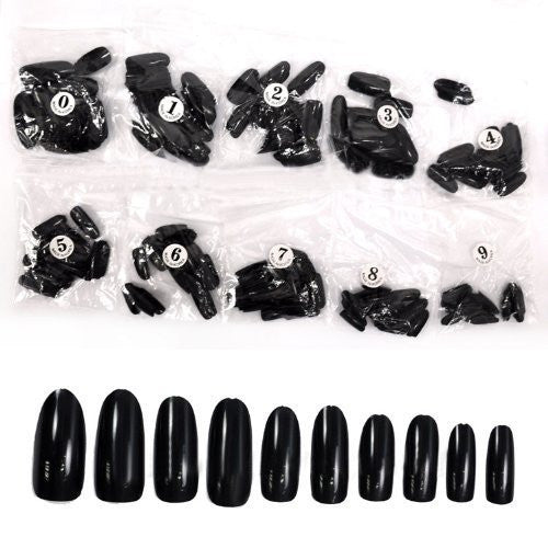 500pcs Round Nails (Full Nails) - Black CODE: #590B