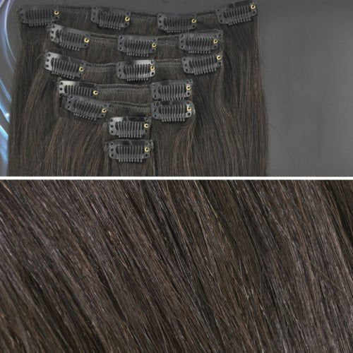 BF Professional New 18 inch Jet Black (201) Full Head Clip in Straight Remy Human Hair Extensions