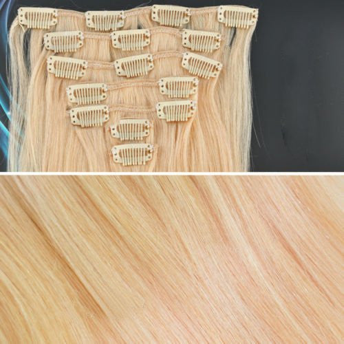 BF New 18 inch #24 Pale Golden Blond(Hair210) Full Head Clip in Straight Remy Human Hair Extension