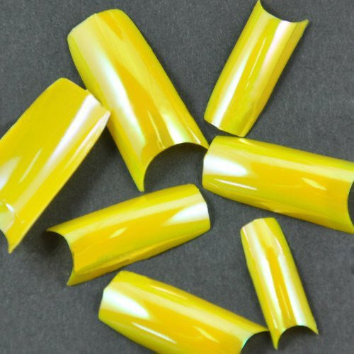 New Original Chrome French Nail Tips For Acrylic Nail Art Tips Drawing Desigm x 100pcs YELLOW