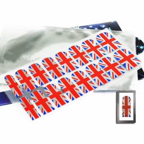 New Professional Adhesive Nail Foil Sheet Flexible Long Lasting For Nails Design Decoration (UK Flag Chrome)