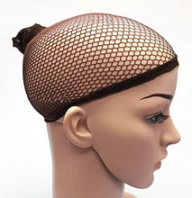 2 X Elastic Unisex Stocking Wig Liner Cap Snood Nylon Stretch Mesh Brown CODE: 1008R
