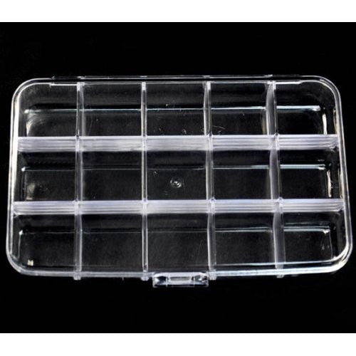 BF 1pc x Large Empty Storage Box Case / Compartments For Acrylic Nail Art / Gems / Rhinestones Diamante (15 Compartments)