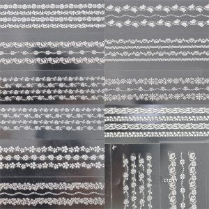 10pcs New Lace Nail Strip Stickers Nail Art Decoration Manicure Sticker Decal Sheets Strips Platinum Color #166L