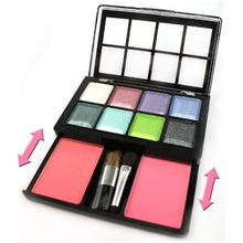 8 Colors Shimmer Eyeshadow Palette Makeup Slide Design With 2 Blushes