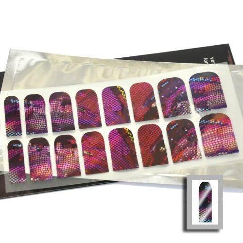 New Auth Professional Adhesive Nail Foil Sheet Flexible Long Lasting For Nails Design Decoration (Rainbow Dot Chrome)