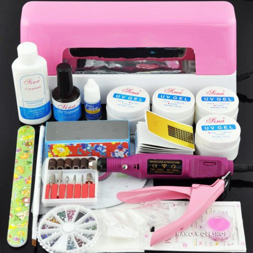 BF Professional UV Gel Nail Kit + 9W UV Lamp + Electric Drill + Clipper And Sticker Set CODE: #156/#157