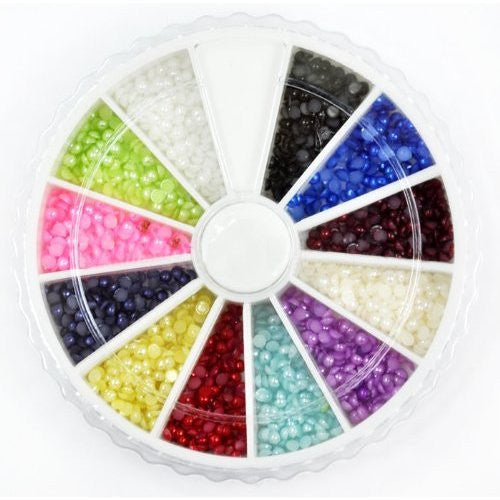 Pearl Color Crystals Round Beads Nails Art Rhinestones (2 mm) x 1200 pcs