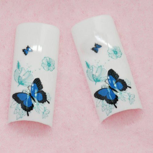 BF Professional Airbrushed New false Nail Tips For Acrylic Nail Art Tips Design Manicure tool (70pcs w/ tip box & glue) - BLUE BUTTERFLY CODE: #E458Nails
