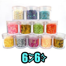 6 Hollow Hearts + 6 Hollow Stars for nail art (10g Jar) CODE: #416
