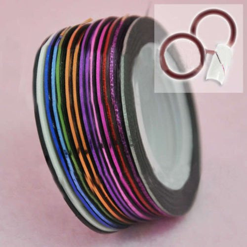 BF 32 pcs Rolls Nail Striping Tape Nail Art Decoration Stickers 16 Colours #512X
